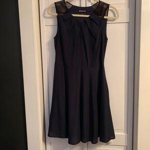 Express Navy Blue Dress Black mesh Shoulder
